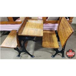 """Antique Cast Iron / Wood Students Desk (2 Part) (Part 1: 26""""H x 22""""W x 31""""D) (Part 2: 26""""H x 22""""W x"""