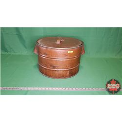 "Copper Tub with Lid (18""Dia x 11""H)"
