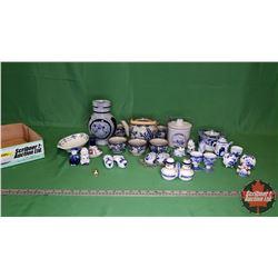 Tray Lot - Blue/White Theme: Tea Pot (No Lid) & Cups, S&P, Wine Pitcher, Ornaments, etc.