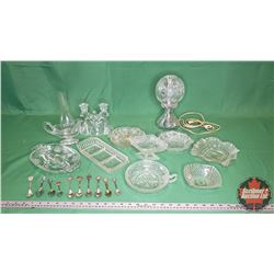 Tray Lot - Clear Glass & Crystal (Variety) + Collector Spoons