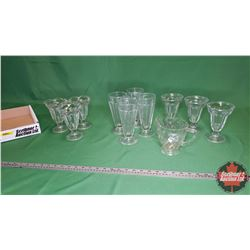 Tray Lot - Clear Glass: Parfait/Sundae Glass Dish (10) & 1 Pitcher