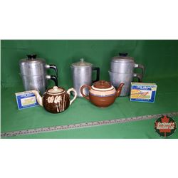 Box Lot: 3 Coffee Percolators, 2 Tea Pots & 2 Cow Brand Baking Soda Boxes