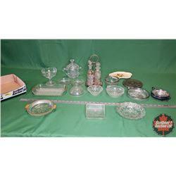Tray Lot: Clear Glass : Cruet Set, Covered Candy Dish, Pickle Dish, Variety Pieces & Silver Trivet