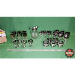 Box Lot - Variety: Smoked Glass Tumblers & Clear Pitcher