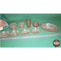 Tray Lot - Pink Depression Glass - Large Variety : Dessert Bowls, C&S, Tumbler (9pcs)
