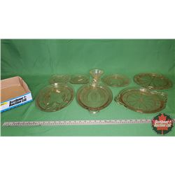 Tray Lot - Pink Depression Glass - Large Variety : Plates & Platters (7 pcs)