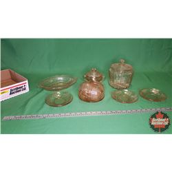 Tray Lot - Pink Depression Glass - Large Variety : Cookie Jar, Sugar Bowl, Cups, Saucers, Veg Bowl (