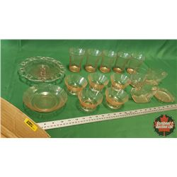 Tray Lot - Pink Depression Glass - Large Variety : Tumblers, C&S, Cake Plate, etc (16pcs)