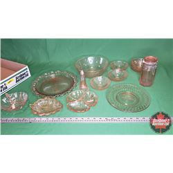 Tray Lot - Pink Depression Glass - Large Variety : Bowls, Pickle Dish, Dessert Plate, Shaker, etc (1