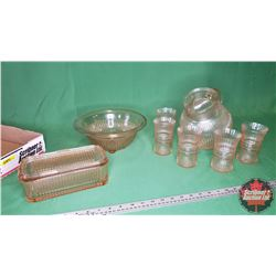 Tray Lot - Pink Depression Glass - Large Variety : Pitcher, Tumblers, Bowl, Refrigerator Dish (8pcs)