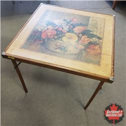 "Card Table - Wooden - Floral Design (27""H x 30""W x 30""D)"