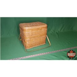 """Picnic Basket (12""""H x 10""""W x 13""""L) with Contents (Miniature Tupperware Collection!)"""