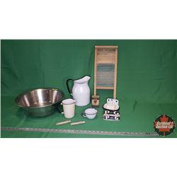 "Wash Basin, Small Washboard ""The Junior"", Enamel Pitchers, P&G Naptha Soap, Enamel Soap Dish, Enamel"