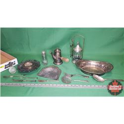 Tray Lot: Large Variety of Silver : Silver Tea/Coffee Pot with Side Handle, Pickle Jar w/Tongs, Serv