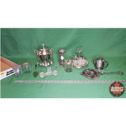 Tray Lot: Large Variety of Silver/Stainless : Cruet Set, Crepe Maker, Cresolene Lamp, etc