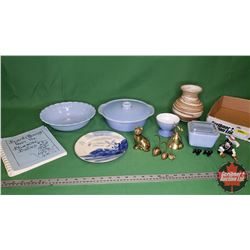 Tray Lot: Blue Theme: Covered Casserole Dish, Serving Bowl, Ornaments, Pottery Vase, Cook Book, etc