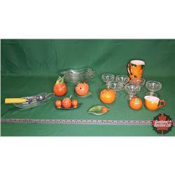 Tray Lot - Orange Theme: Orange Condiment & Service Set with Pitcher + Banana Split Boats, Ice Cream