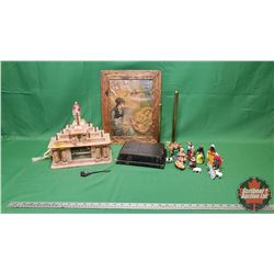 Religious Grouping: Framed Angelic Picture, Last Supper Music Box Lamp, Small Nativity Figures, Bras