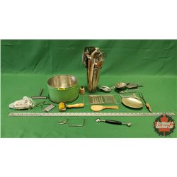 Green Tin w/Large Variety of Vintage Kitchen Tools & Utensils & Clear Glass Measuring Pitcher