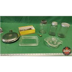 Tray Lot: Coffee Jars, Juicer, Sanitary Hot Water Bottle, Flatware, Pyrex Fridge Lid, Brass Nabob Sp