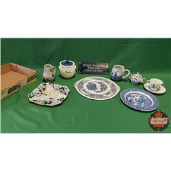 Tray Lot - Blue/White Theme: Old England Ironstone Platter, 0.25L Pitcher, Delft Cup & Saucer, Grimw
