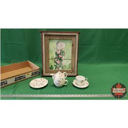 "Tray Lot: Picture Easel, Framed Painting (16"" x 13""), Noritake Cup/Saucer, Teaopia Personal TeaPot/C"