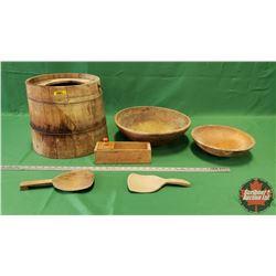 Wooden Bucket & 2 Wooden Butter Bowls & 2 Butter Paddles & Cheese Box