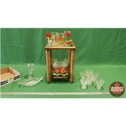 "Collector Combo: Hen on Nest & Wooden Shelf Unit (15""H x 11""W x 11""D) with Tray Lot (Glassware/Table"