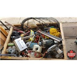 Crate Lot - Large Selection of Work Shop Items : Jackall, Bench Grinder, Cable, Screw Drivers, Pipe