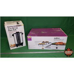 "Salton Portable Roaster Oven & Coffee Percolator ""Westbend"" 12-30 Cup in Box (No Cord)"