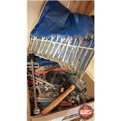 """Tray Lot - Hand Tools: Wrenches, Torque Wrench, Rubber Mallet, 1/4"""" Drive Socket Set, Dead Blow Hamm"""