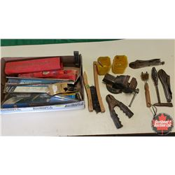 "Tray Lot - Welding Theme : Variety Welding Rods, Wire Brushes, Chipping Hammer, Small Vise (2-1/2""W)"