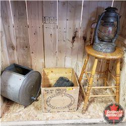 Antique Combo Lot : Butter Churn, Wooden Butter Box, Barn Lantern, Foot Warmer & Wood Stool