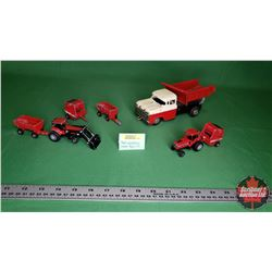 Toys: International Tractors (2) & Implements (4) & Friction Toy Tin Dump Truck