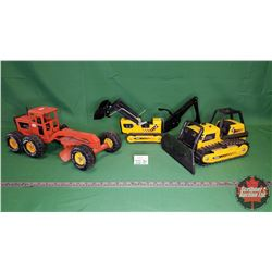 Tonka Toy Trio : Bulldozer, Backhoe, Grader