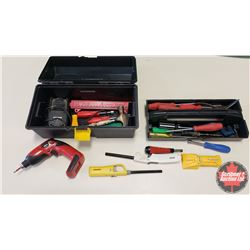 Plastic Tool Box with Contents : (Screw Drivers, Cordless Drill, Stud Finder, etc)