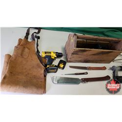 Finishing Carpenters Combo: Wooden Tool Box, Brad Nailer, Cordless Drill, Leather Apron, Coping Saws