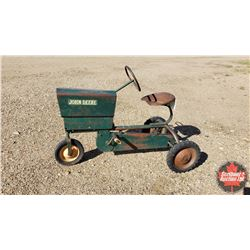 """Old Tube Frame Pedal Tractor - Tricycle (John Deere Sticker) (27""""H x 20""""W x 38""""L)"""