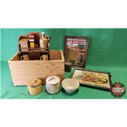 Wood Box Lot: Framed Rope Edge Wall Mirror, Pool Elevator Cups, Western Producer Coin Bank, Variety