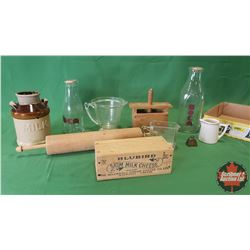 Tray Lot: Milk Crock, Butter Press, Cheese Box, Milk Bottles, Rolling Pin, Measuring Cups, Small Rin