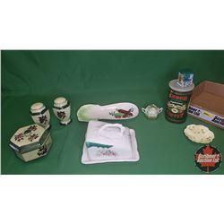 Tray Lot - Green Theme : Cheese Keep, Shakers, Nabob Tin, Shelby England Small Dish, Jam Pot