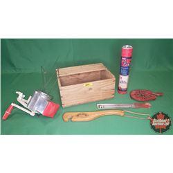 Wood Box Lot - Vintage Kitchen : Grinder, Baster, Thermometer, Trivet, Rack Puller, Canner Lifter, e