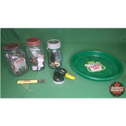 Canada Dry Tray with 3 Jars & Contents (Bottle Opener Collection, Key Chain Collection & Pin Collect