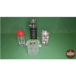Bar Items (4): Thirst Extinguisher Decanter, Crystal Ice Bucket, Red Lion Recipe Shaker & Other Reci