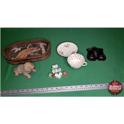 Cup of Knowledge, Small Wicker Tray, Bobble Head Dog, Tin Matchstick Holder & Variety Dice