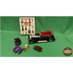 Rolls Royce Decanter Holder & Seagrams Small Bottle Liquor Set & Vintage Small Crown Royal Bottles/P