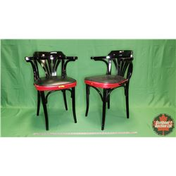"""Red & Black Arm Chairs (2) Painted (31""""H)"""