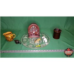 Collector Combo: Clear Glass Tray, Crosley Table Top Radio, Small Pickle Crock, General Store Pitche