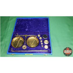 Brass Apothecary Scale in Case