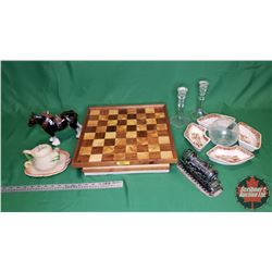 Collector Combo - Variety Items: Horse Ornament, Candle Stick Holders, Chess/Checker Board, Train Ba